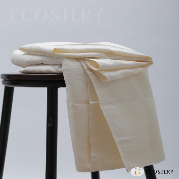 Raw silk bath towel